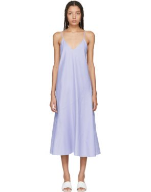 photo Blue Chambray Flared Bias Slip Dress by Protagonist - Image 1