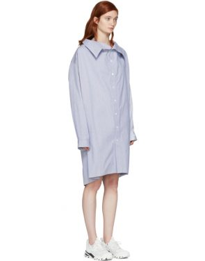 photo White and Blue Stripe Shirt Dress by Ambush - Image 4