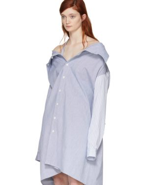 photo White and Blue Stripe Shirt Dress by Ambush - Image 5