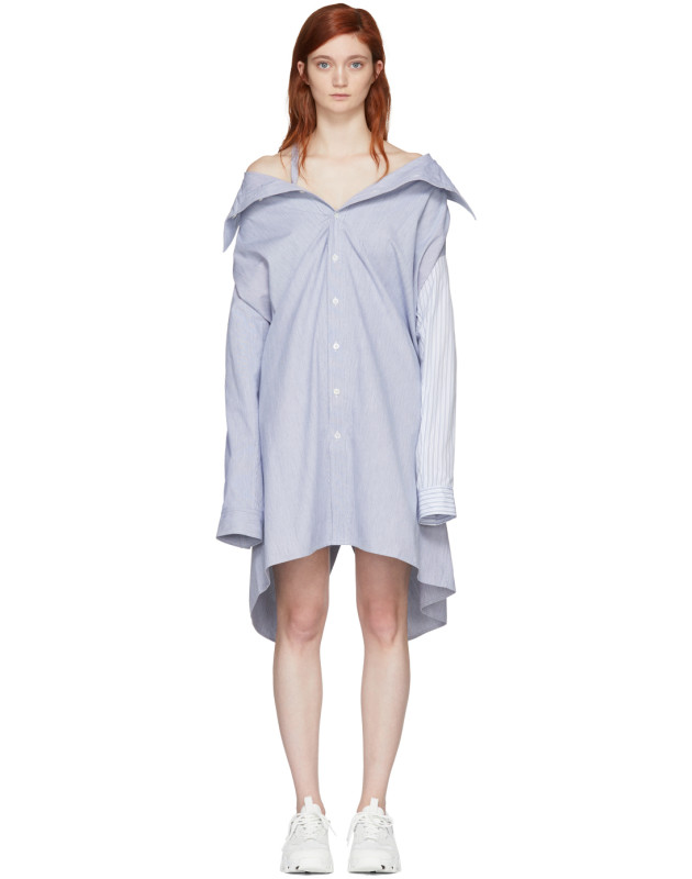 photo White and Blue Stripe Shirt Dress by Ambush - Image 1