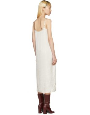 photo Off-White Portrait Long Slip Dress by Moderne - Image 3