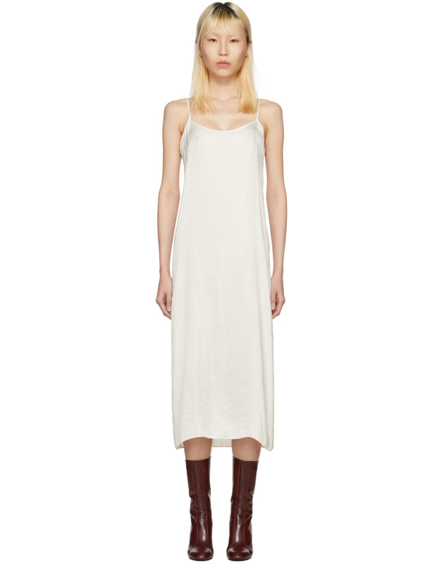 photo Off-White Portrait Long Slip Dress by Moderne - Image 1
