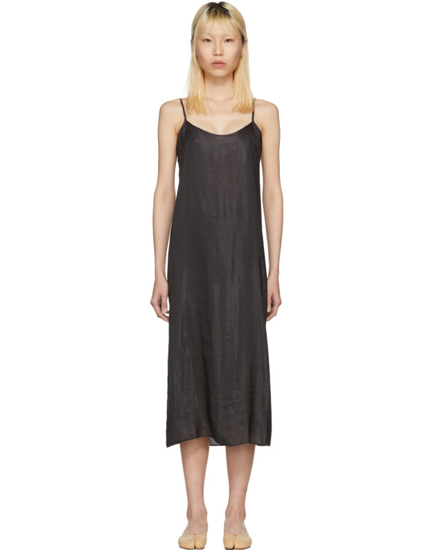 photo Black Portrait Long Slip Dress by Moderne - Image 1