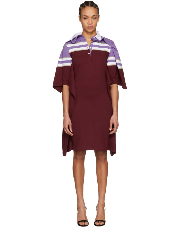 photo Violet and Burgundy Striped Polo Dress by Y/Project - Image 1