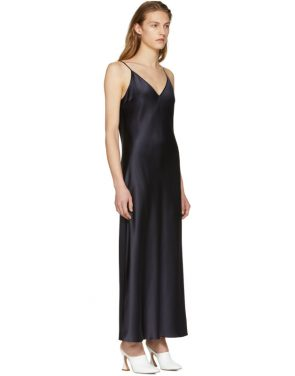 photo Navy Silk Satin Clea Dress by Joseph - Image 2