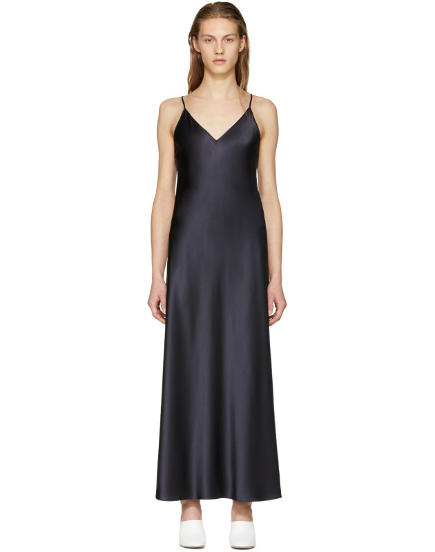 photo Navy Silk Satin Clea Dress by Joseph - Image 1
