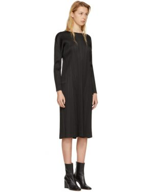 photo Black Pleated Long Dress by Pleats Please Issey Miyake - Image 2