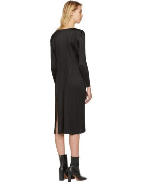 photo Black Pleated Long Dress by Pleats Please Issey Miyake - Image 3