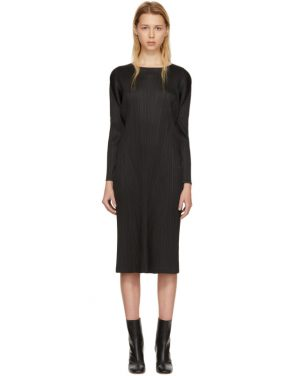 photo Black Pleated Long Dress by Pleats Please Issey Miyake - Image 1