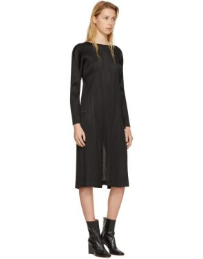 photo Black Pleated Long Dress by Pleats Please Issey Miyake - Image 4