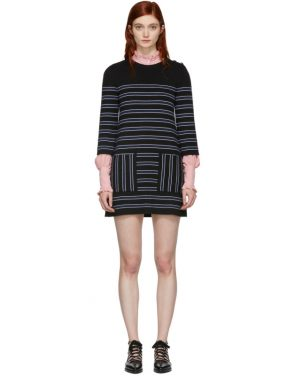 photo Navy and Black Striped Knit Dress by Alexachung - Image 1