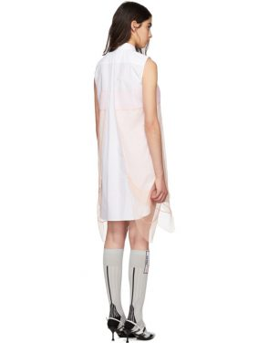 photo White and Orange Sleeveless Chiffon Dress by Prada - Image 3