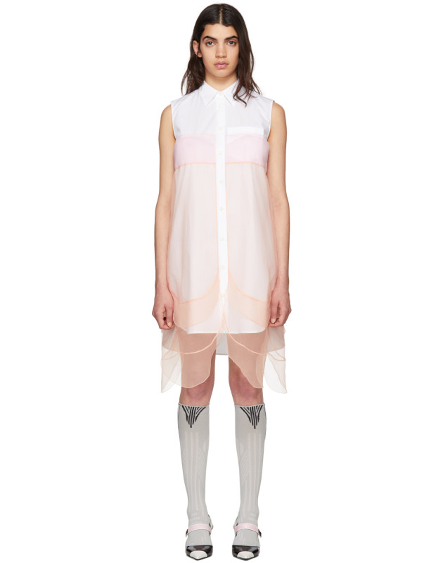 photo White and Orange Sleeveless Chiffon Dress by Prada - Image 1