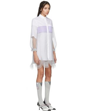 photo White and Grey Chiffon Shirt Dress by Prada - Image 2