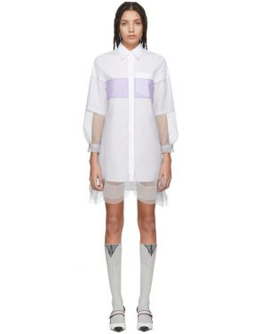 photo White and Grey Chiffon Shirt Dress by Prada - Image 1