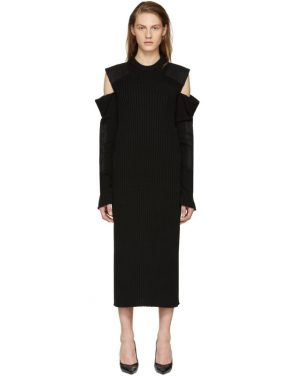 photo Black Cut-Out Shoulder Uniform Knit Dress by Calvin Klein 205W39NYC - Image 1