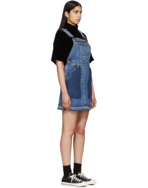 photo Indigo Denim Mini Dungaree Dress by McQ Alexander McQueen - Image 2