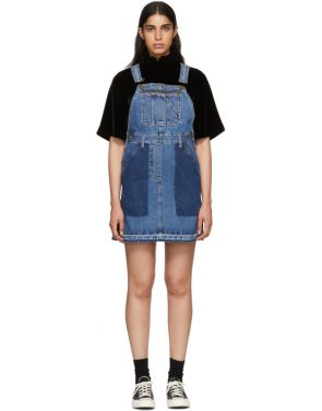photo Indigo Denim Mini Dungaree Dress by McQ Alexander McQueen - Image 1