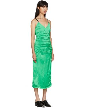 photo Green Ruched Slip Dress by Helmut Lang - Image 2