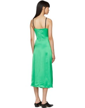 photo Green Ruched Slip Dress by Helmut Lang - Image 3