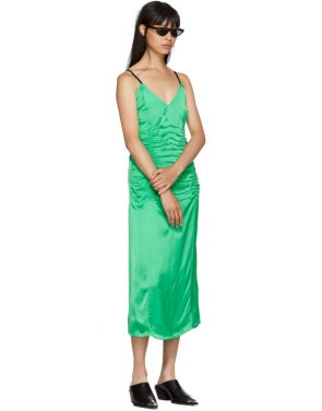 photo Green Ruched Slip Dress by Helmut Lang - Image 5