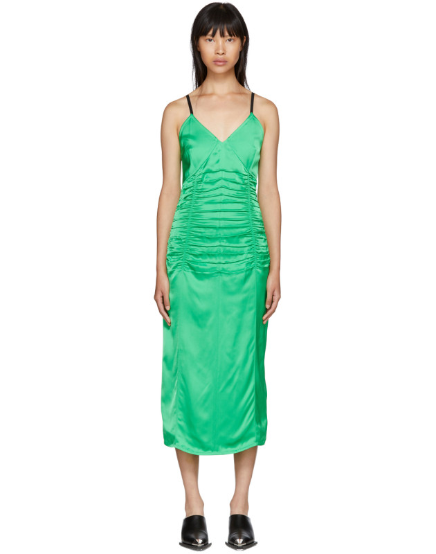 photo Green Ruched Slip Dress by Helmut Lang - Image 1