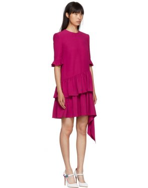 photo Pink Asymmetric Drape Dress by Alexander McQueen - Image 2