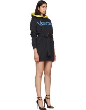 photo Navy Embroidered Logo Hoodie Dress by Versace - Image 2