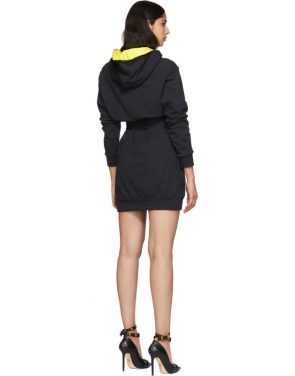 photo Navy Embroidered Logo Hoodie Dress by Versace - Image 3