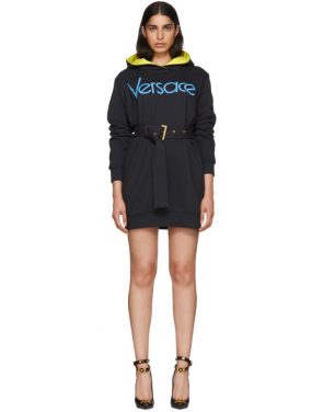 photo Navy Embroidered Logo Hoodie Dress by Versace - Image 1
