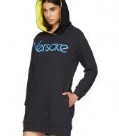 photo Navy Embroidered Logo Hoodie Dress by Versace - Image 4