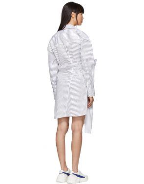 photo Black and White Striped Belted Shirt Dress by MSGM - Image 3