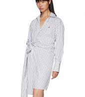 photo Black and White Striped Belted Shirt Dress by MSGM - Image 4