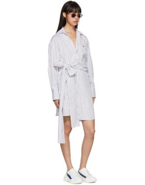 photo Black and White Striped Belted Shirt Dress by MSGM - Image 5