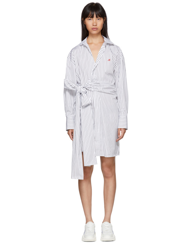 photo Black and White Striped Belted Shirt Dress by MSGM - Image 1
