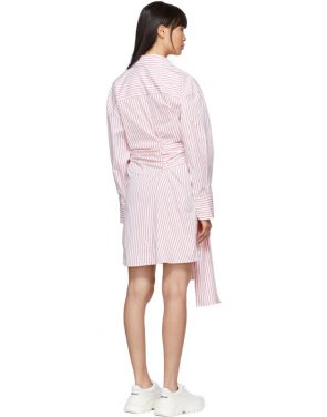 photo Red and White Striped Belted Shirt Dress by MSGM - Image 3