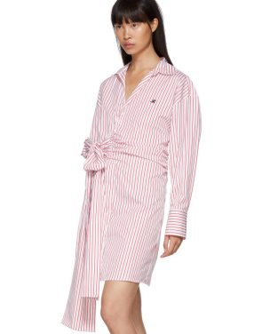 photo Red and White Striped Belted Shirt Dress by MSGM - Image 4