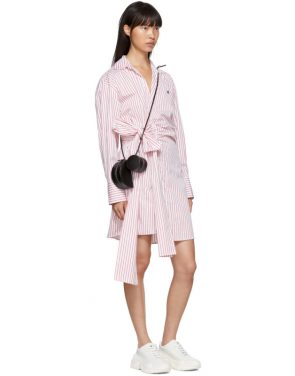 photo Red and White Striped Belted Shirt Dress by MSGM - Image 5