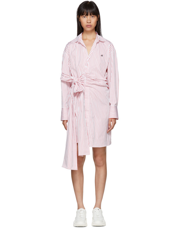 photo Red and White Striped Belted Shirt Dress by MSGM - Image 1