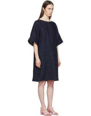 photo Navy Linen Back Pleat Dress by Mansur Gavriel - Image 2