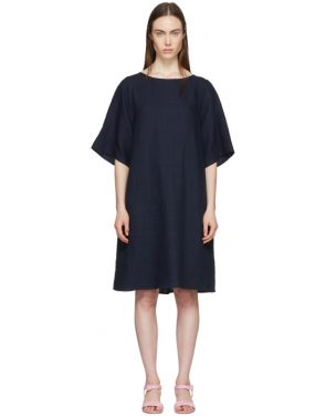 photo Navy Linen Back Pleat Dress by Mansur Gavriel - Image 1