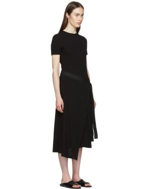 photo Black Apron Wrap T-Shirt Dress by Rosetta Getty - Image 2