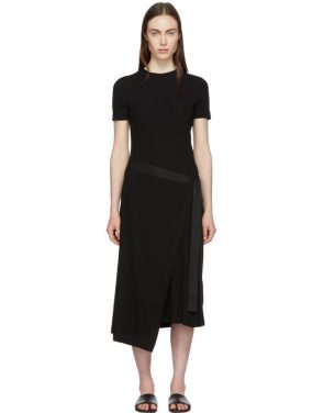 photo Black Apron Wrap T-Shirt Dress by Rosetta Getty - Image 1