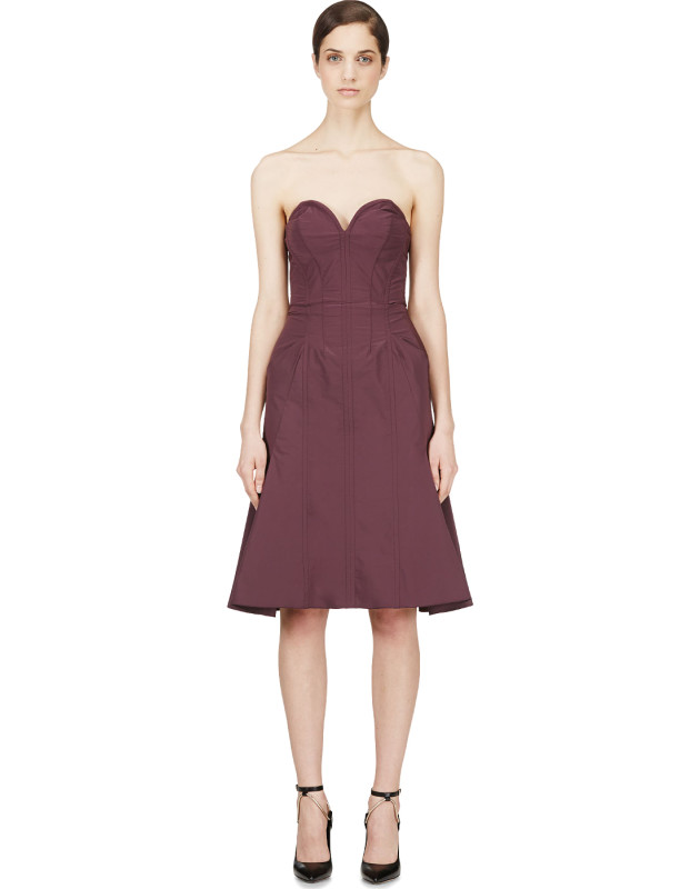 photo Purple Satin Compact Bustier Dress by Nina Ricci - Image 1