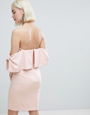 photo Bow Sleeve Midi Dress by New Look, color Nude - Image 2