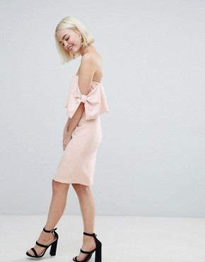 photo Bow Sleeve Midi Dress by New Look, color Nude - Image 1