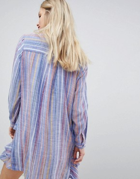 photo Frill Shirt Dress by New Look, color Blue Pattern - Image 2