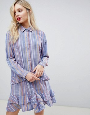 photo Frill Shirt Dress by New Look, color Blue Pattern - Image 1