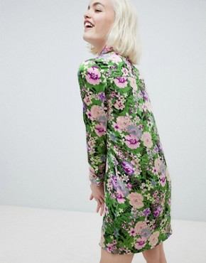 photo Shift Dress with Ribbon Tie in Dragon Petal Print by Sister Jane, color Green Floral - Image 2