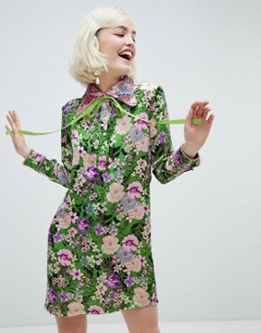 photo Shift Dress with Ribbon Tie in Dragon Petal Print by Sister Jane, color Green Floral - Image 1